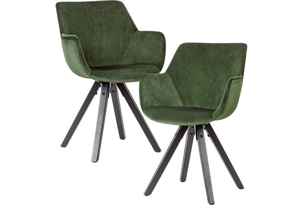 Wohnling 2er Set Esszimmerstuhl Samt Grün mit Armlehnen, Küchenstühle Modern mit schwarzen Beinen