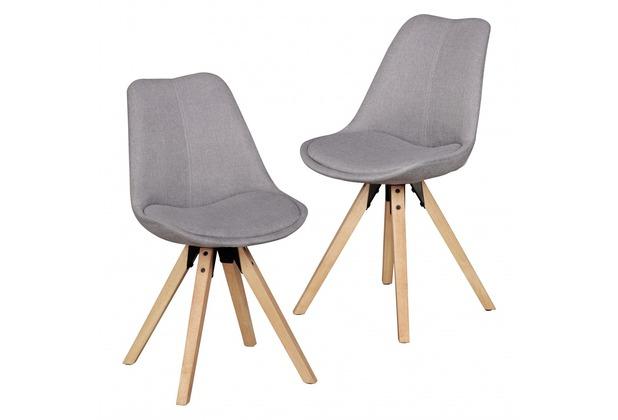 Wohnling 2er Set Retro Esszimmerstuhl LIMA Hellgrau Polsterstuhl Stoff-Bezug Rückenlehne Design Küchen-Stuhl gepolstert