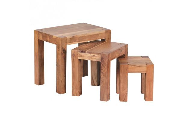 Wohnling 3-teiliger Satztisch Akazie Massivholz Beistelltisch