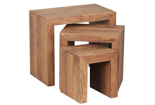 Wohnling Akazie 3-teiliger Satztisch Massiv Beistelltisch Massivholz