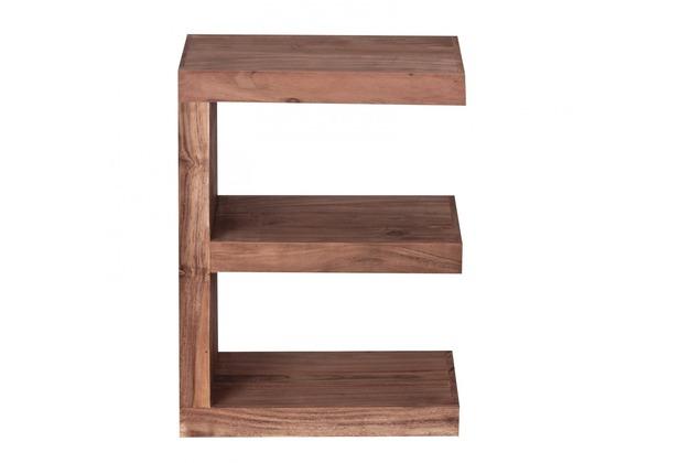 """Wohnling Akazie Massivholz Beistelltisch \""""\""""E\""""\"""" Cube 44x 30 x 60 cm mit Ablage"""