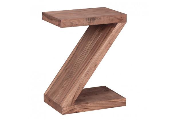 """Wohnling Akazie Massivholz Beistelltisch \""""\""""Z\""""\"""" Cube 44 x 30 x 59 cm mit Ablage"""