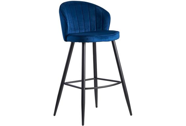 Wohnling Barhocker Samt Blau 56x102,5x52,5 cm