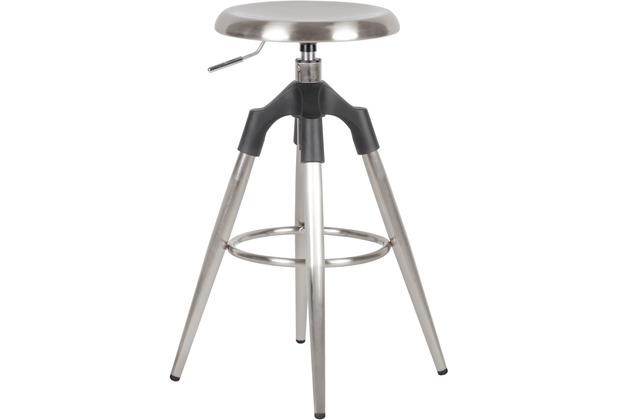 Wohnling Barhocker Silber Metall 72-80cm, Design Barstuhl 100kg Maximalbelastbarkeit, Tresenhocker Industrial