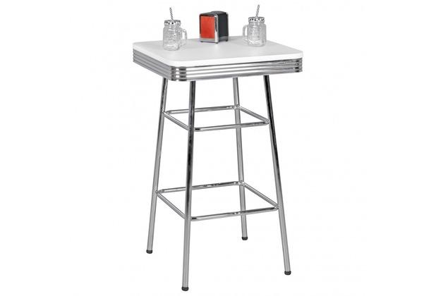 Wohnling Bartisch eckig ELVIS 60 x 60 cm American Diner MDF Holz & Alu Stehtisch Design Partytisch Retro USA