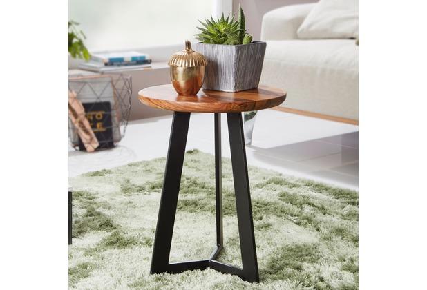 Wohnling Beistelltisch 35x37x35 cm WL5.665 Sheesham Holz Metall Couchtisch, Industrial Style Echtholz Hocker