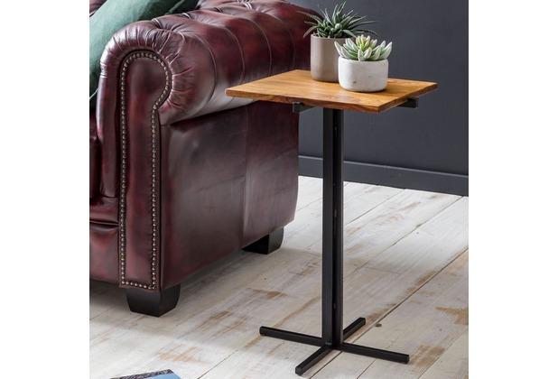 Wohnling Beistelltisch 38 x 62 x 38 cm WL5.663 Sheesham Holz Metall Couchtisch, Industrial Style Echtholz