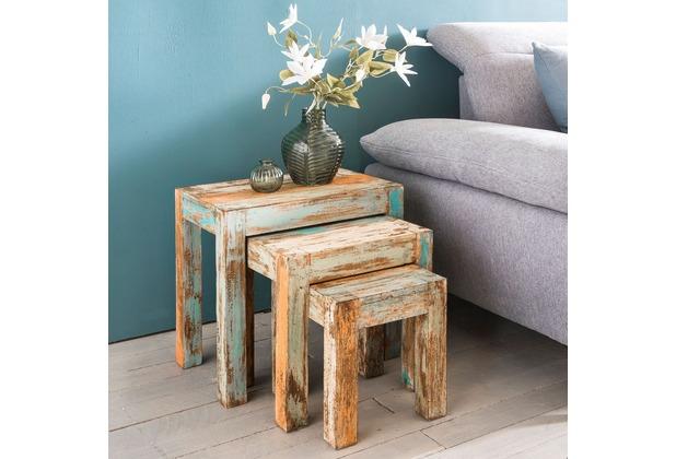 Wohnling Beistelltisch 3er-Set YAMAS Massivholz Satztisch Shabby-Chic, Vintage Abstelltisch massiv, Design Couchtisch 3 teilig bunt, Designer Tisch Holz modern, Beistelltischchen ausgefallen weiß