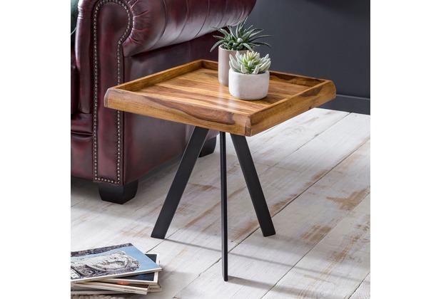 Wohnling Beistelltisch 45 x 48 x 45 cm WL5.655 Sheesham Holz Metall Couchtisch, Industrial Style Echtholz