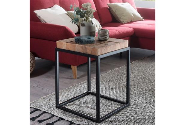 Wohnling Beistelltisch ANDUR 39x56x39cm Akazie/Metall Couchtisch Massivholz, Wohnzimmertisch Industrial klein