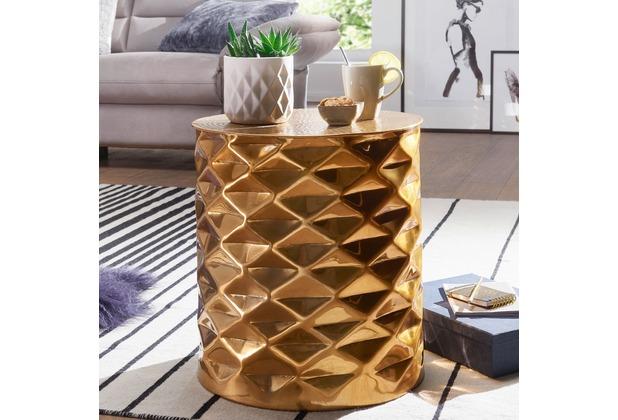 wohnling beistelltisch gopal 43 5x48x43 5 cm aluminium couchtisch gold orientalisch rund. Black Bedroom Furniture Sets. Home Design Ideas