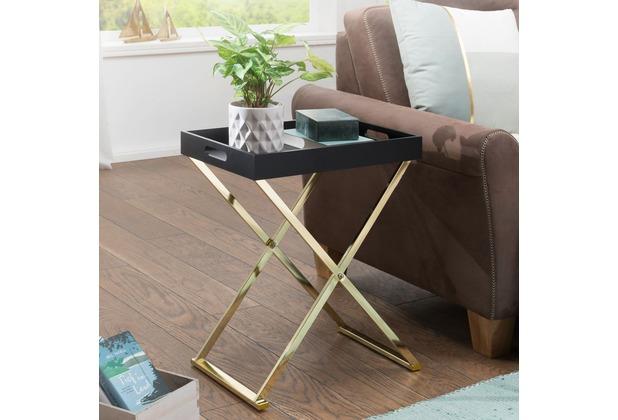 Wohnling Beistelltisch NINA TV-Tray Klappbar 46x61x32cm Schwarz/Gold Design Wohnzimmertisch + Serviertablett