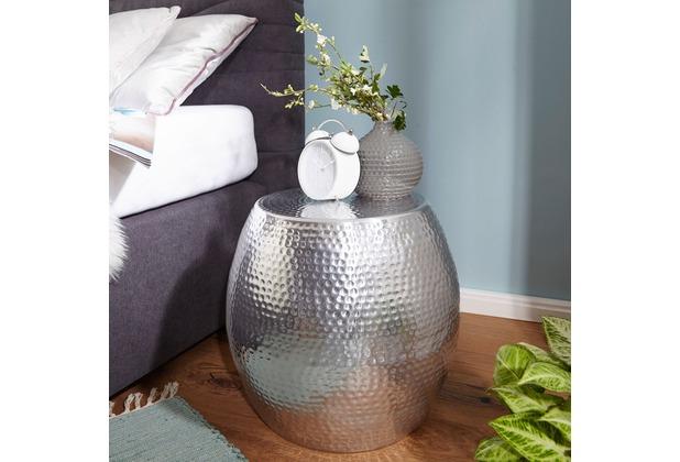 wohnling beistelltisch pedro 42 x 42 x 42 cm aluminium silber dekotisch orientalisch rund. Black Bedroom Furniture Sets. Home Design Ideas