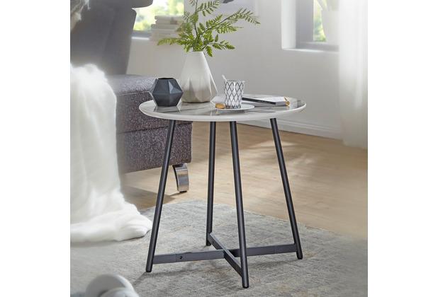 Wohnling Beistelltisch Rund 50 x 50 cm mit Marmor Optik Weiß, Wohnzimmertisch mit Metall