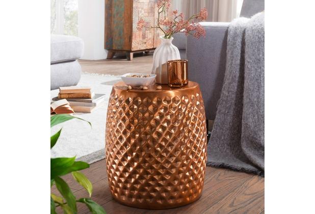 wohnling beistelltisch sita 32x42x32 cm aluminium anstelltisch kupfer orientalisch rund flacher. Black Bedroom Furniture Sets. Home Design Ideas