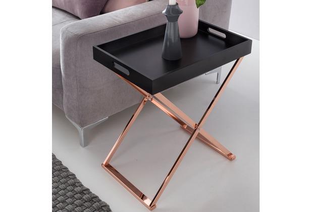 Wohnling Beistelltisch TV-Tray zusammenklappbar 48 x 61 x 34 cm schwarz / kupfer MDF, Tabletttisch Holz