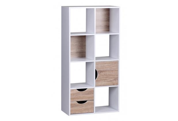Wohnling Bücherregal mit Schubladen und Tür Weiß Sonoma Eiche