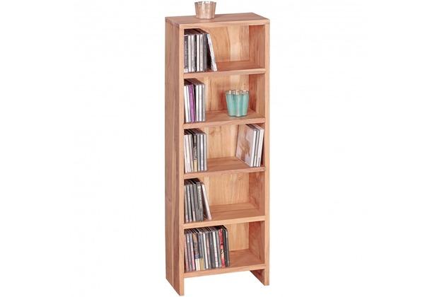 Wohnling CD Regal Massivholz Akazie Standregal 90 cm hoch CD-Aufbewahrung 5 Fächer, natur Landhaus-Stil