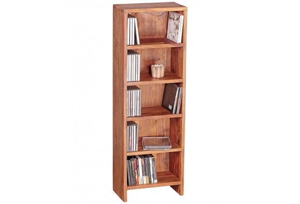 Wohnling CD Regal Massivholz Sheesham Standregal 90 cm hoch CD-Aufbewahrung 5 Fächer Bücherregal natur