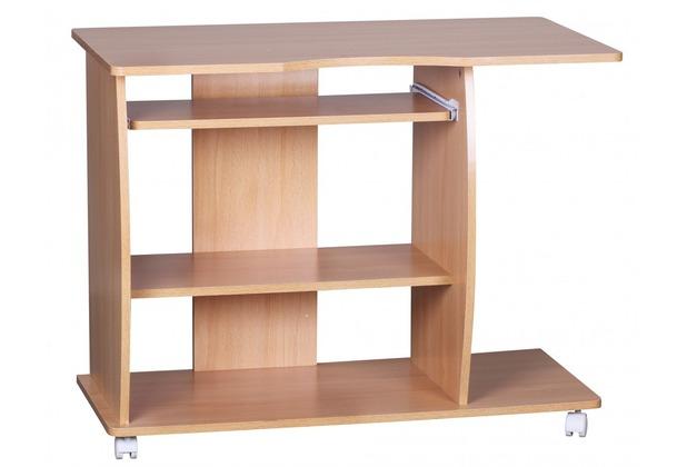 Wohnling Computertisch Diana Buche mit Rollen 90 cm