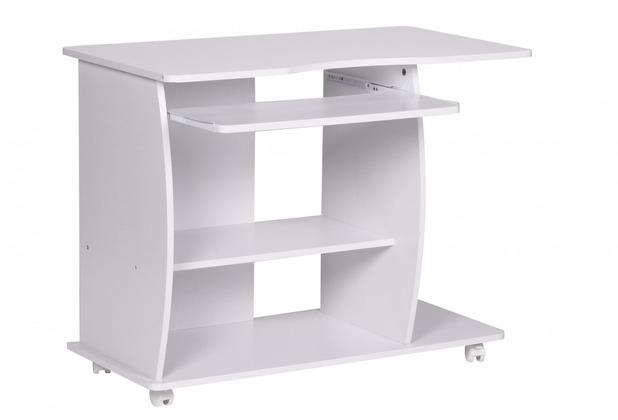 Wohnling Computertisch Diana Weiß mit Rollen 90 cm