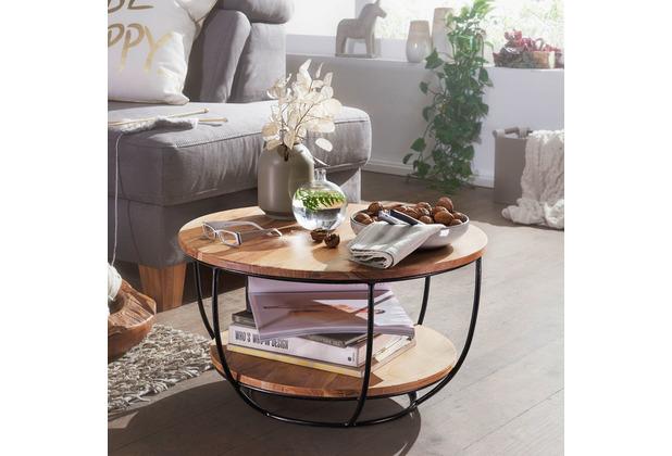 Wohnling Couchtisch 60x34,5x60 cm Akazie Massivholz / Metall Sofatisch, Design Wohnzimmertisch Rund, Braun
