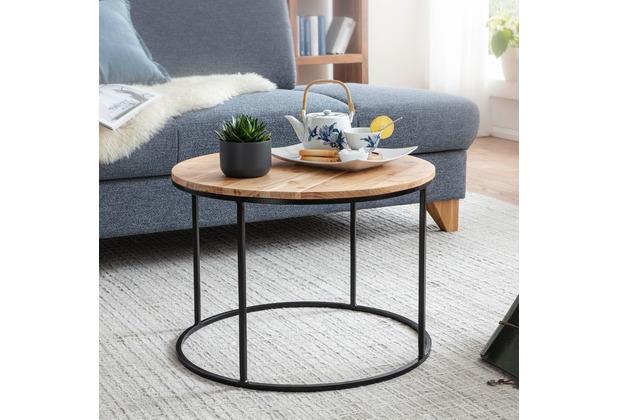 Wohnling Couchtisch 60x43x60 cm Akazie Massivholz / Metall Sofatisch, Design Wohnzimmertisch Rund