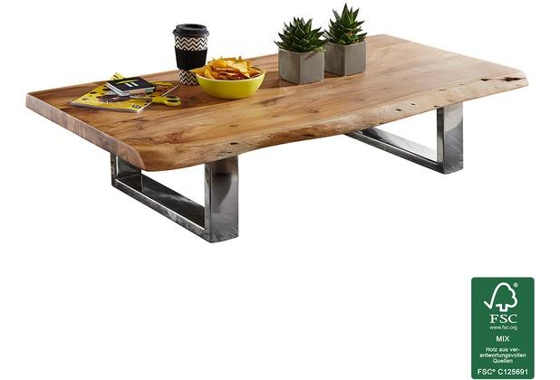 Wohnling Couchtisch ASURA 115 x 25 x 58 cm Akazie Massiv Holz Metallgestell groß, Baumstamm Wohnzimmertisch