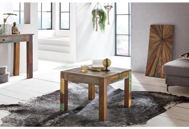 Wohnling Couchtisch KALKUTTA 60 x 60 cm Recycling Vintage Massiv-Holz, quadratisch