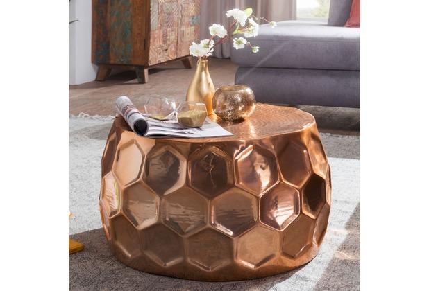 wohnling couchtisch honeycomb 60x36x60 cm aluminium anstelltisch orientalisch kupfer rund. Black Bedroom Furniture Sets. Home Design Ideas