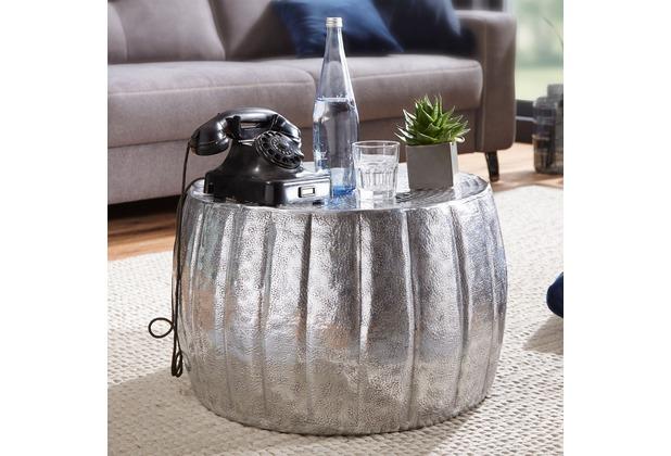 Wohnling Couchtisch JAMAL 60x36x60 cm Aluminium Silber Beistelltisch orientalisch rund, Flacher Sofatisch Metall, Design Wohnzimmertisch modern, Loungetisch Stubentisch klein silber