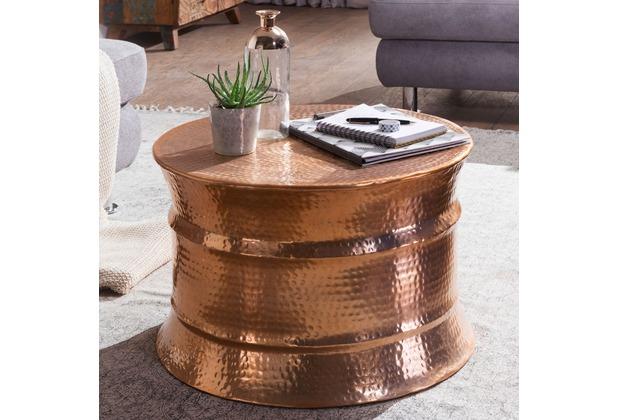 wohnling couchtisch karam 62x41x62cm aluminium kupfer beistelltisch orientalisch rund flacher. Black Bedroom Furniture Sets. Home Design Ideas