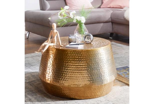 wohnling couchtisch mahesh 60x36x60 cm aluminium beistelltisch gold orientalisch rund flacher. Black Bedroom Furniture Sets. Home Design Ideas