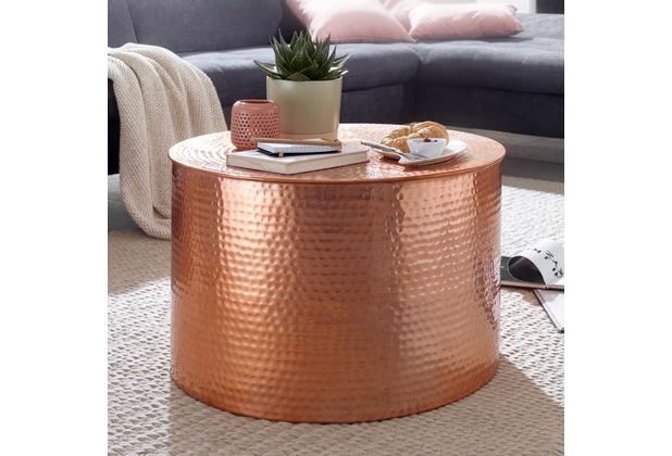 wohnling couchtisch rahi 61 x 40 5 x 61 cm aluminium kupfer beistelltisch orientalisch rund. Black Bedroom Furniture Sets. Home Design Ideas