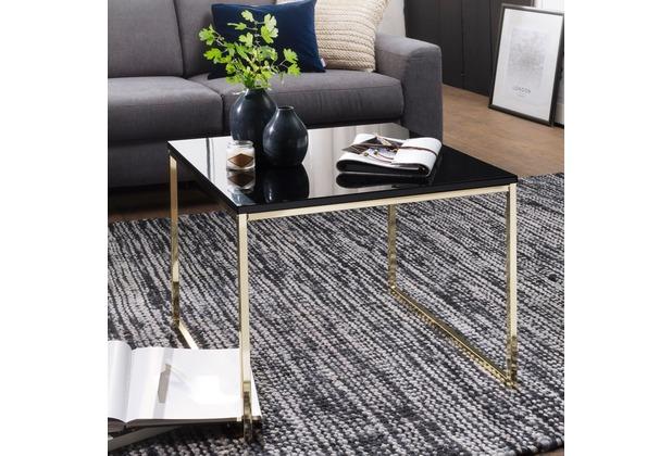 Wohnling Couchtisch RIVA 60x50x60 cm Metall Holz Sofatisch Schwarz / Gold, Design Wohnzimmertisch quadratisch