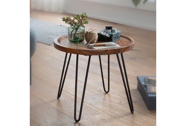 Wohnling Couchtisch Sheesham Massivholz 45x40x45 cm Wohnzimmertisch Rund, Sofatisch mit Haarnadelbeine