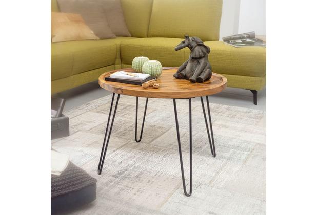 Wohnling Couchtisch Sheesham Massivholz 60x45x60 cm Wohnzimmertisch Rund, Sofatisch mit Haarnadelbeine