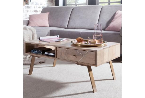 Wohnling Couchtisch SIKAR 95x42x50cm Mango Massivholz / Metall Sofatisch Design Wohnzimmertisch mit Schublade