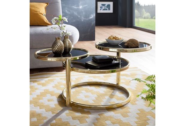 Wohnling Couchtisch SUSI mit 3 Tischplatten Schwarz / Gold 58 x 43 x 58 cm, Beistelltisch Rund, Design Wohnzimmertisch Glas / Metall, Designer Glastisch Sofatisch modern, Kleiner Loungetisch gold