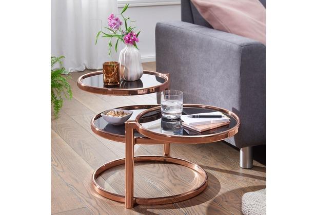 Wohnling Couchtisch SUSI 58x43x58 cm mit 3 Tischplatten Schwarz / Kupfer Glastisch rund, mit Metallgestell