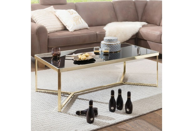 Wohnling Couchtisch TARA 120 x 60 cm Schwarz/Gold Beistelltisch Metall/Glas, Tisch mit Glasplatte, Ablagetisch modern, Großer Wohnzimmertisch, Glastisch mit Metallgestell gold