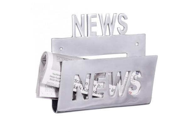 Wohnling Deko Prospekthalter NEWS, Zeitschriftenhalter aus Aluminium Farbe Silber