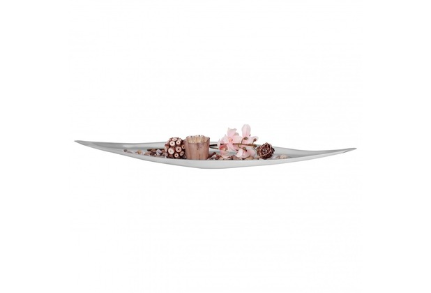 Wohnling Dekoschale Tischdeko BIG BOAT XXL 78 cm Aluminium Dekoration, Deko Schale Alu silber, Geschenk