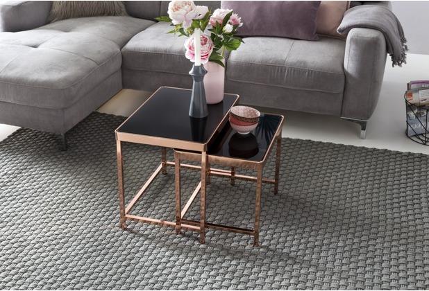 Wohnling Design 2er Set Satztisch Couchtisch Metall Glas Schwarz / Kupfer, Beistelltisch verspiegelt Wohnzimmertisch modern, Glastisch eckig