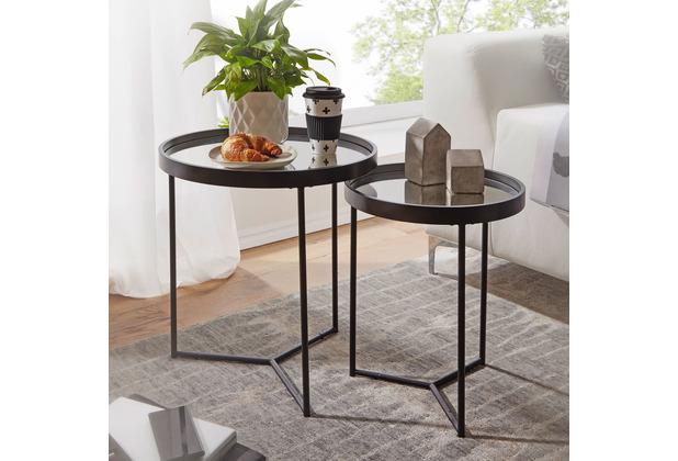 Wohnling Design Beistelltisch 2 teilig Ø 50/36 cm schwarz, Glastisch verspiegelt rund
