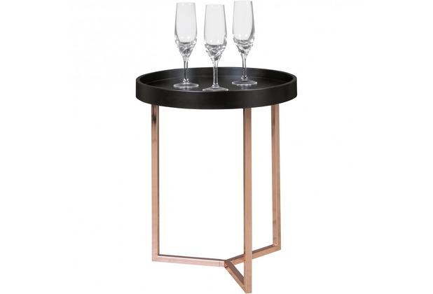 Wohnling Design Beistelltisch ø 40 cm schwarz / kupfer, Tablettisch Holz, mit Metallgestell