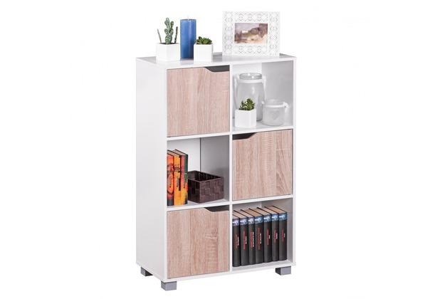 Wohnling Design Bücherregal Modern Holz Weiß mit Türen Sonoma Eiche freistehend 6 Fächer 60 x 90 x 30 cm
