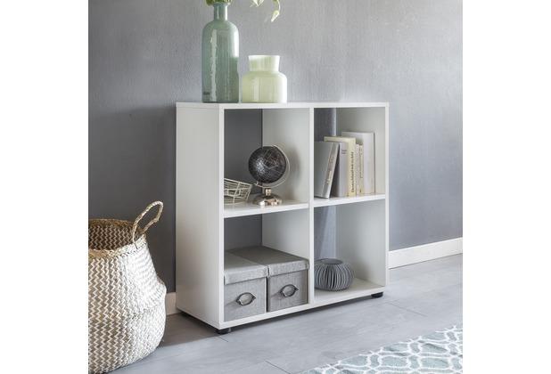 Wohnling Design Bücherregal ZARA mit 4 Fächern Weiß 70 x 72 x 29 cm, Standregal Holz Regal freistehend