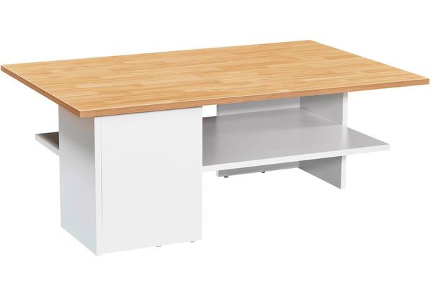 Wohnling Design Couchtisch 90x35x60 cm Sandeiche / Weiß, Wohnzimmertisch mit Ablage