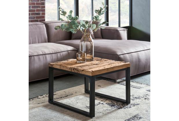 Wohnling Design Couchtisch BELLARY 60x47x60 cm Massiv Holz Sofatisch mit Metallgestell, Wohnzimmertisch rechteckig Massivholz Braun, Holztisch Mordern, Tisch Wohnzimmer braun